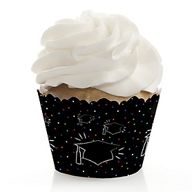 Hats Off Grad - Graduation Decorations - Party Cupcake Wrappers - Set of 12