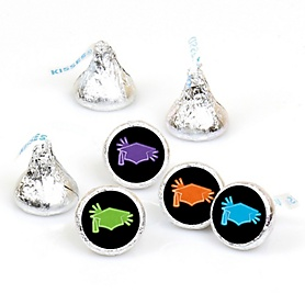 Hats Off Grad - Round Candy Labels Graduation Party Favors - Fits Hershey's Kisses 108 ct