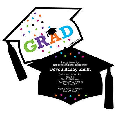 hats off grad personalized graduation invitations bigdotofhappinesscom - Personalized Graduation Invitations