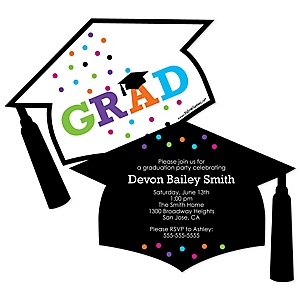 Hats Off Grad - Personalized Graduation Invitations - Set of 12