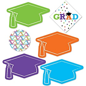 Hats Off Grad - DIY Shaped Graduation Party Paper Cut-Outs - 24 ct