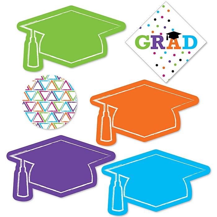 Hats Off Grad - DIY Shaped Graduation Party Paper Cut-Outs - 24 ct