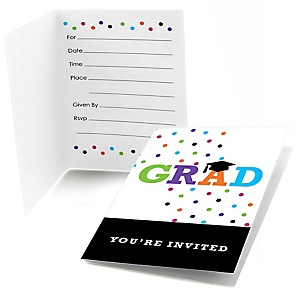 Hats Off Grad - Graduation Party Fill In Invitations - 8 ct