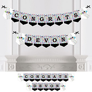 Hats Off Grad - Personalized Graduation Party Bunting Banner & Decorations
