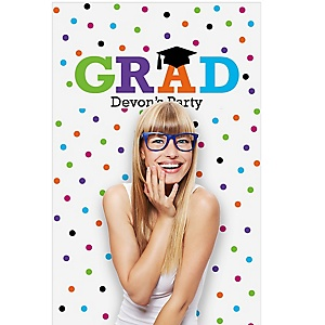 "Hats Off Grad - Personalized Graduation Party Photo Booth Backdrops - 36"" x 60"""
