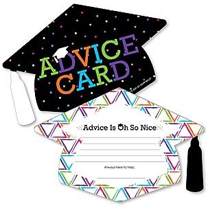 Hats Off Grad - Grad Cap Graduation Party Advice Cards - Set of 20