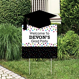 Hats Off Grad - Graduation Decorations - Graduation Party Personalized Welcome Yard Sign
