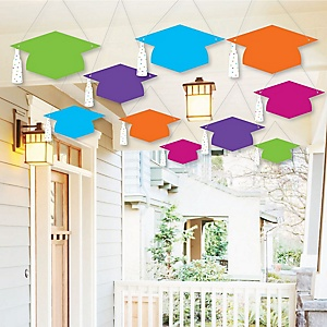 Hanging Hats Off Grad - Outdoor Graduation Party Hanging Porch & Tree Yard Decorations - 10 Pieces