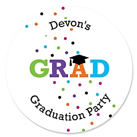 Hats Off Grad - Personalized Graduation Sticker Labels - 24 ct