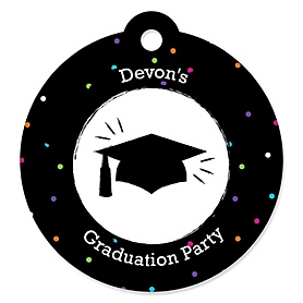 Hats Off Grad - Round Personalized Graduation Party Die-Cut Tags - 20 ct