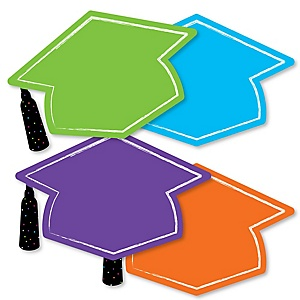 Hats Off Grad - Grad Cap Decorations DIY Graduation Party Essentials - Set of 20