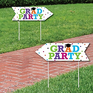 Hats Off Grad - Graduation Party Sign Arrow - Double Sided Directional Yard Signs - Set of 2