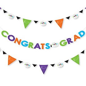 Hats Off Grad - Graduation Party Letter Banner Decoration - 36 Banner Cutouts and Congrats Grad Banner Letters