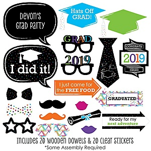 Hats Off Grad - 20 Piece 2019 Graduation Party Photo Booth Props Kit