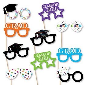 Hats Off Grad Glasses - 2020 Paper Card Stock Graduation Party Photo Booth Props Kit - 10 Count