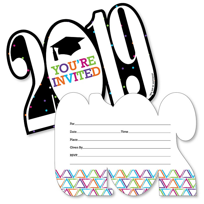 Hats Off Grad - Shaped Fill-In Invitations - 2019 Graduation Party Invitation Cards with Envelopes - Set of 12