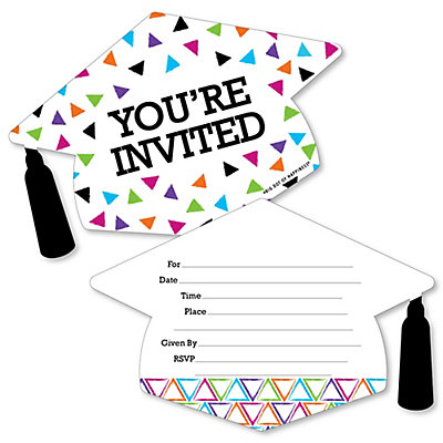 Hats off grad shaped fill in invitations 2018 graduation party hats off grad shaped fill in invitations 2018 graduation party invitation cards with envelopes set of 12 filmwisefo