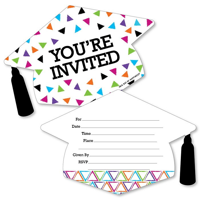 Hats Off Grad - Shaped Fill-In Invitations - Graduation Party Invitation Cards with Envelopes - Set of 12