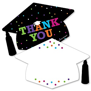 Hats Off Grad - Shaped Thank You Cards - Graduation Party Thank You Note Cards with Envelopes - Set of 12