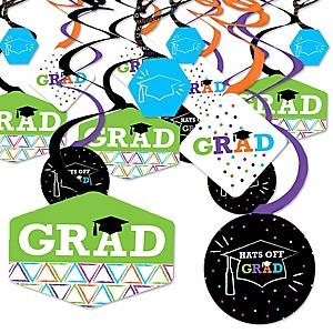 Hats Off Grad - Graduation Party Hanging Decor - Party Decoration Swirls - Set of 40