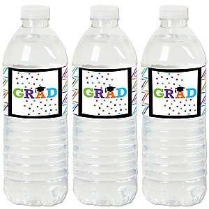 Hats Off Grad - Graduation Party Water Bottle Sticker Labels - Set of 20