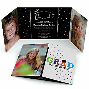 Hats Off Grad - Personalized Graduation Party Photo Invitations - Set of 12