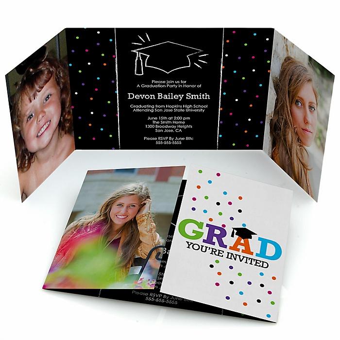 Hats Off Grad - Personalized Graduation Party Photo Invitations - Set of 12