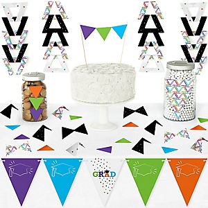 Hats Off Grad - DIY Pennant Banner Decorations - Graduation Party Triangle Kit - 99 Pieces