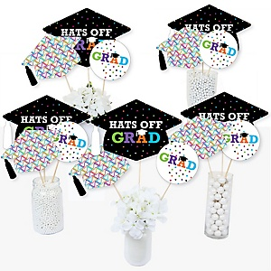 Hats Off Grad - Graduation Party Centerpiece Sticks - Table Toppers - Set of 15
