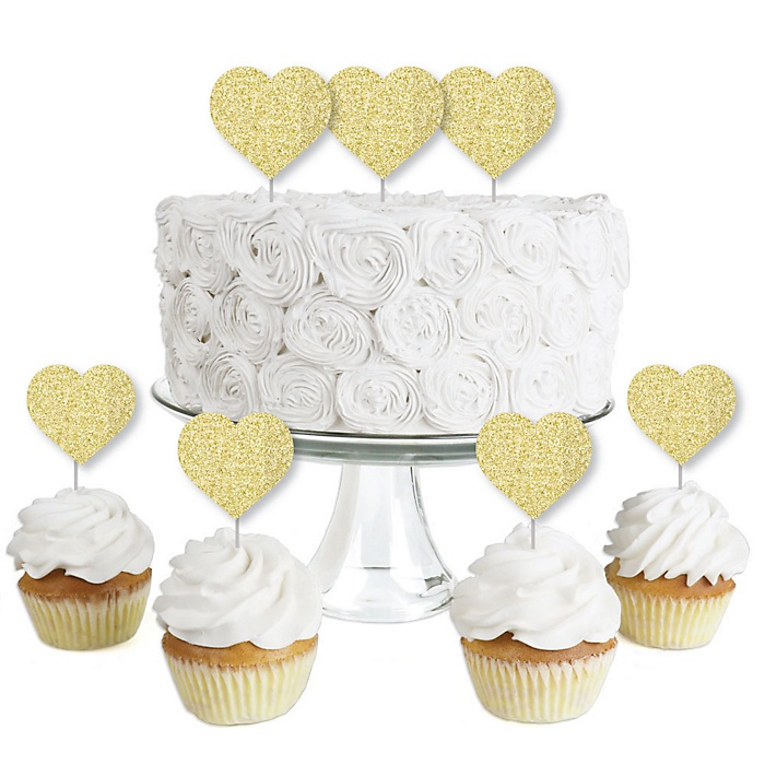 Gold Glitter Heart - No-Mess Real Gold Glitter Dessert Cupcake Toppers - Conversation Hearts Valentine's Day Party Clear Treat Picks - Set of 24