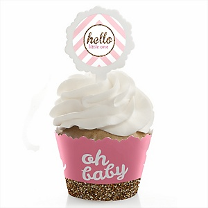 Hello Little One - Pink and Gold - Cupcake Wrapper & Pick Party Kit - Set of 24