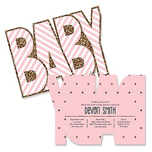 Hello Little One - Pink and Gold - Shaped Girl Baby Shower Invitations