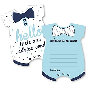 Hello Little One - Blue and Silver - Baby Bodysuit Wish Card Boy Baby Shower Activities - Shaped Advice Cards Game - Set of 20