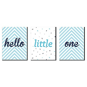 "Hello Little One - Blue and Silver - Baby Boy Nursery Wall Art and Kids Room Décor - 7.5"" x 10"" - Set of 3 Prints"