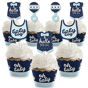 Hello Little One - Blue and Silver - Cupcake Decorations - Boy Baby Shower Cupcake Wrappers and Treat Picks Kit - Set of 24