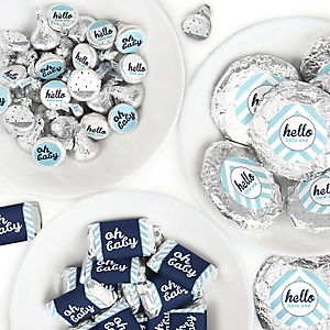 Hello Little One - Blue and Silver - Mini Candy Bar Wrappers, Round Candy Stickers and Circle Stickers - Boy Baby Shower Candy Sticker Favor Kit - 304 Pieces