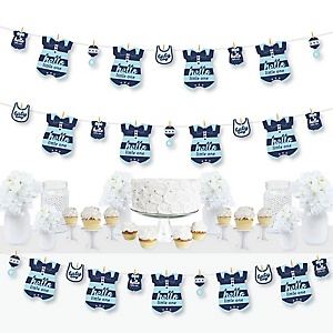 Hello Little One - Blue and Silver - Boy Baby Shower DIY Decorations - Clothespin Garland Banner - 44 Pieces