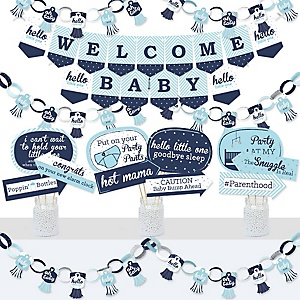 Hello Little One - Blue and Silver - Banner and Photo Booth Decorations - Boy Baby Shower Supplies Kit - Doterrific Bundle
