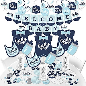 Hello Little One - Blue and Silver - Boy Baby Shower Supplies - Banner Decoration Kit - Fundle Bundle