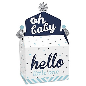 Hello Little One - Blue and Silver - Treat Box Party Favors - Boy Baby Shower Goodie Gable Boxes - Set of 12