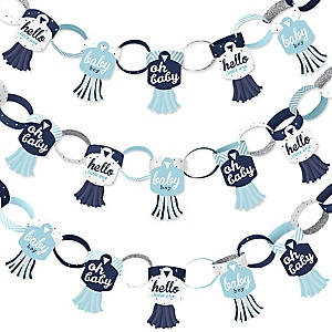 Hello Little One - Blue and Silver - 90 Chain Links and 30 Paper Tassels Decoration Kit - Boy Baby Shower Paper Chains Garland - 21 feet