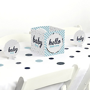 Hello Little One - Blue and Silver - Boy Baby Shower Centerpiece and Table Decoration Kit