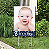 Hello Little One - Blue and Silver - Photo Yard Sign - Boy Baby Shower Party Decorations