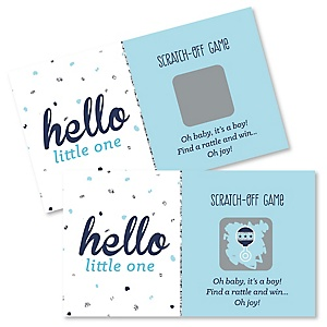 Hello Little One - Blue and Silver - Boy Baby Shower Game Scratch Off Cards - 22 ct