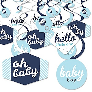 Hello Little One - Blue and Silver - Boy Baby Shower Hanging Decor - Party Decoration Swirls - Set of 40