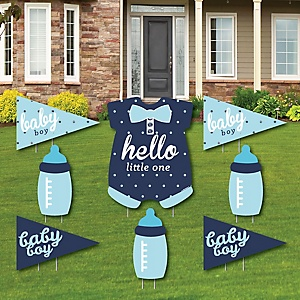 Hello Little One - Blue and Silver - Yard Sign & Outdoor Lawn Decorations - Boy Baby Shower Yard Signs - Set of 8