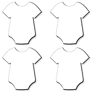 Baby Bodysuit Foam Board - Shaped DIY Craft Supplies for Resin and Painting - Baby Shower and Nursery Blank Foam Board - 4 Piece