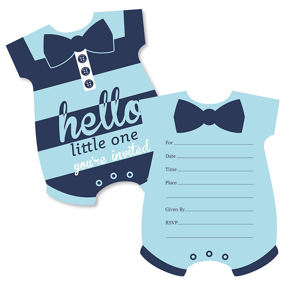 O Little One Blue And Navy Shaped Fill In Invitations Boy Baby Shower Invitation Cards With Envelopes Set Of 12