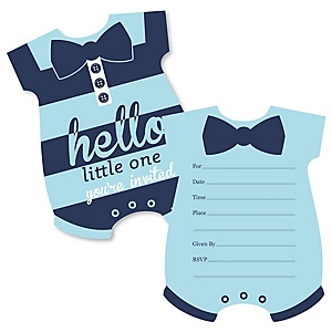 Hello Little One - Blue and Navy - Shaped Fill-In Invitations - Boy Baby Shower Invitation Cards with Envelopes - Set of 12
