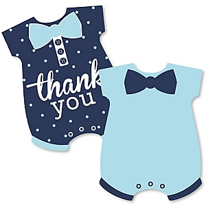 Hello Little One - Blue and Navy - Shaped Thank You Cards - Boy Baby Shower Thank You Note Cards with Envelopes - Set of 12